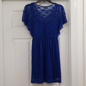 Lily Rose Blue Short Sleeve Lace Dress